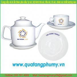 Bộ bình trà sứ in logo PTP11
