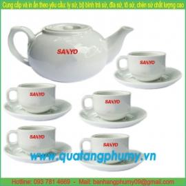 Bộ bình trà sứ in logo PTP13