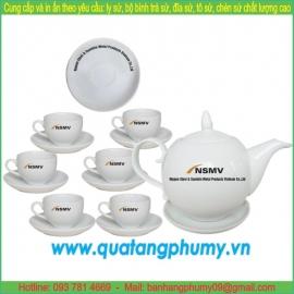 Bộ bình trà sứ in logo PTP15