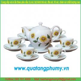 Bộ bình trà sứ in logo PTP16
