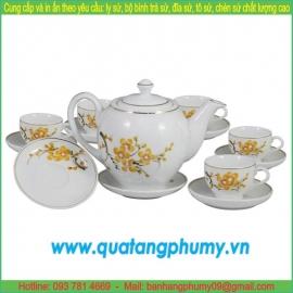 Bộ bình trà sứ in logo PTP17
