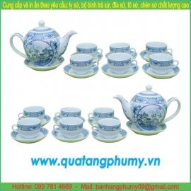 Bộ bình trà sứ in logo PTP19