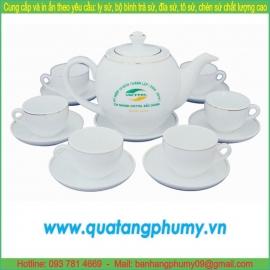 Bộ bình trà sứ in logo PTP22