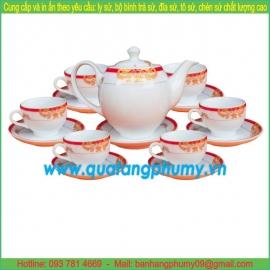 Bộ bình trà sứ in logo PTP24