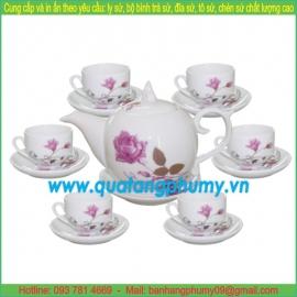 Bộ bình trà sứ in logo PTP34