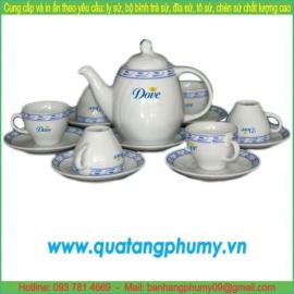 Bộ bình trà sứ in logo PTP4