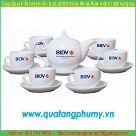 Bộ bình trà sứ in logo PTP5
