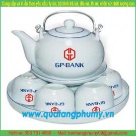 Bộ bình trà sứ in logo PTP6