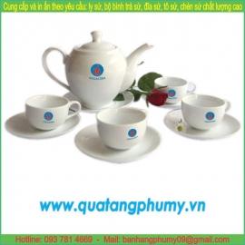 Bộ bình trà sứ in logo PTP9